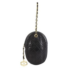 Chanel Oval CC Charm Clutch Quilted Leather Small