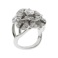 Chanel Oval Solitaire Diamond 18k White Gold and Black Diamond Cocktail Ring 51