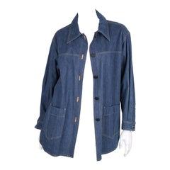 Chanel Oversized Denim Coat / Blouse - blue