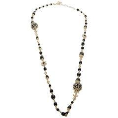 Chanel Pale Gold Tone Long Necklace Black Molten Glass Pearl  CC Charm
