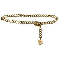 Chanel Pale Goldtone Chain-link Belt/Necklace w. CC Coins