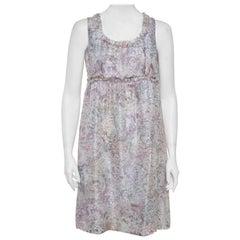Chanel Pale Grey Floral Print Silk Sleeveless Dress L