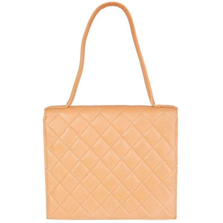 Orange CHANEL pale nude quilted leather VINTAGE Flap Bag For Sale