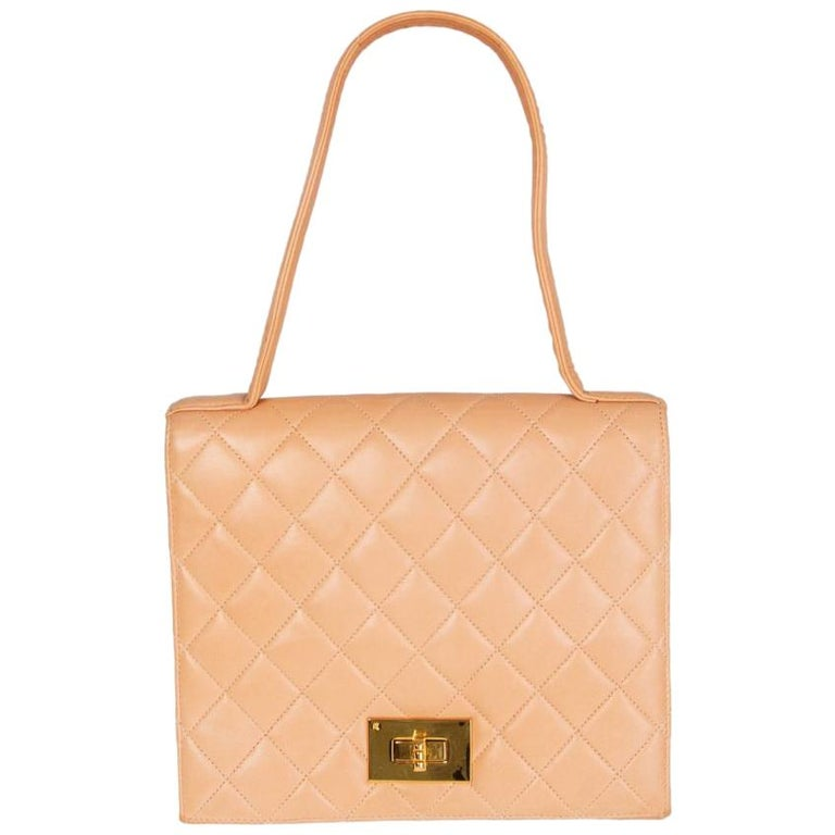 CHANEL pale nude quilted leather VINTAGE Flap Bag For Sale
