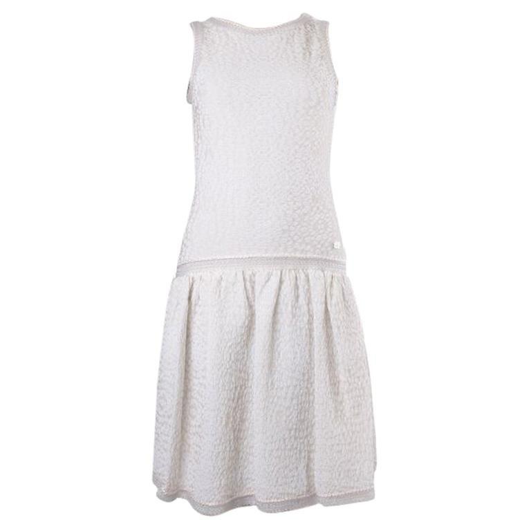 CHANEL pale pink cotton TEXTURED Sleeveless Dress 36