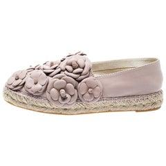 Chanel Pale Pink Leather CC Camellia Espadrilles Size 39