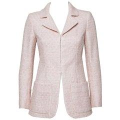 Chanel Pale Pink Lurex Insert Tweed Jacket S
