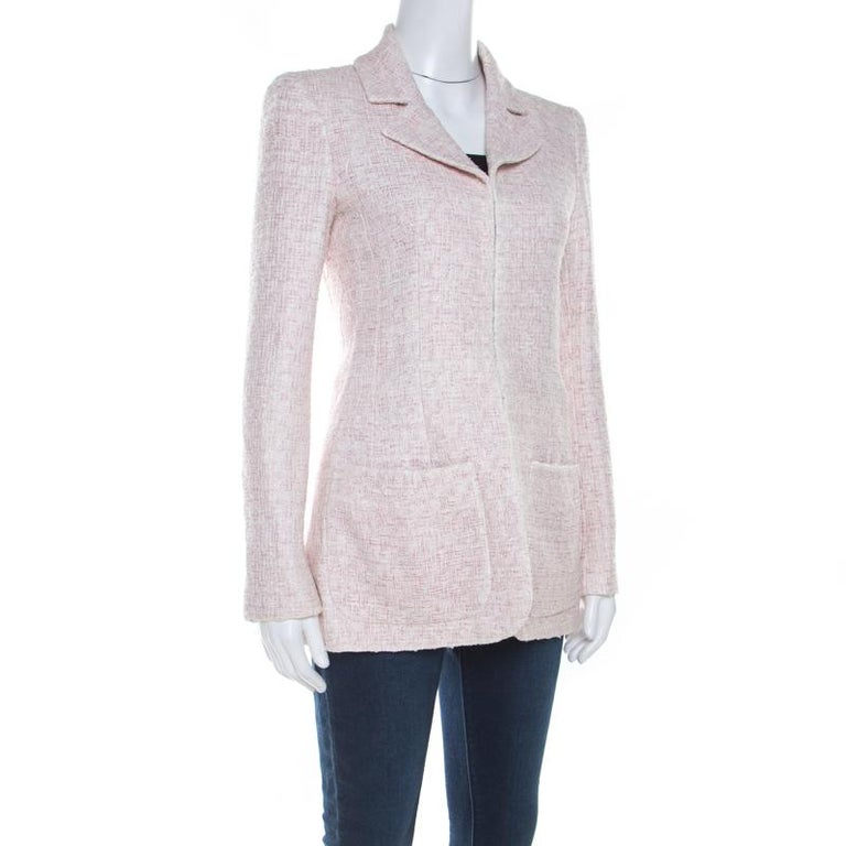 Gray Chanel Pale Pink Lurex Insert Tweed Long Coat S For Sale