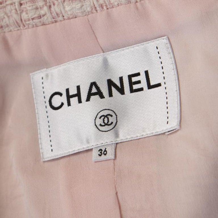 Women's Chanel Pale Pink Lurex Insert Tweed Long Coat S For Sale