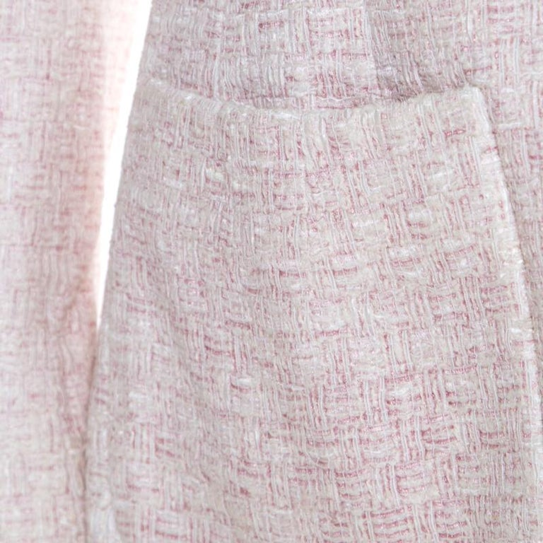 Chanel Pale Pink Lurex Insert Tweed Long Coat S For Sale 1