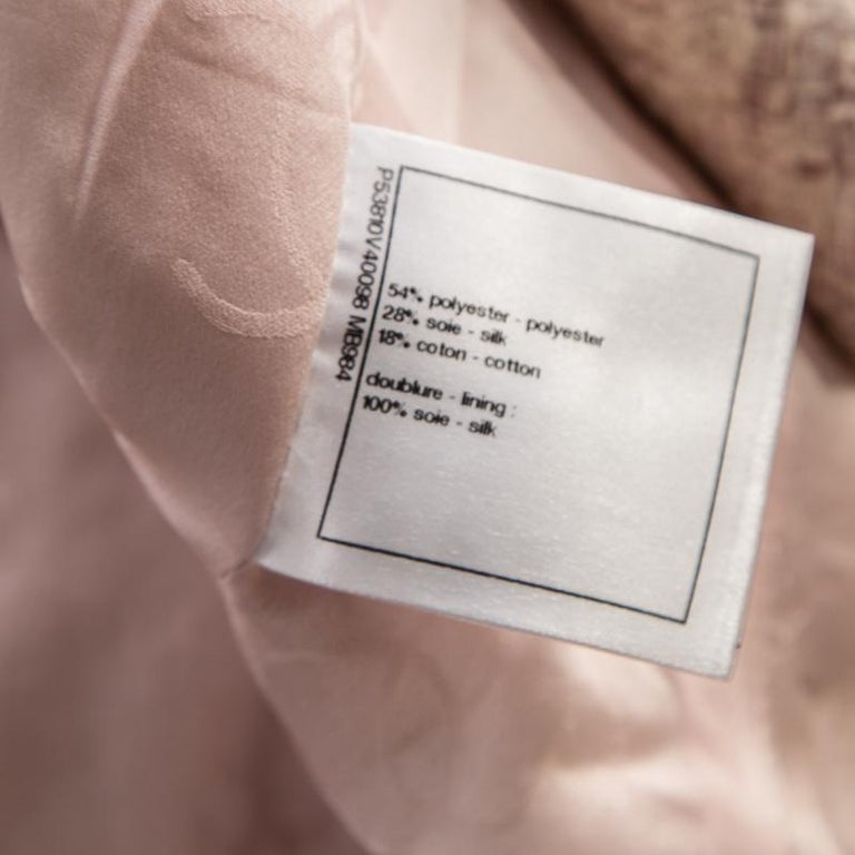 Chanel Pale Pink Lurex Insert Tweed Long Coat S For Sale 2