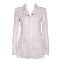 Chanel Pale Pink Lurex Insert Tweed Long Coat S