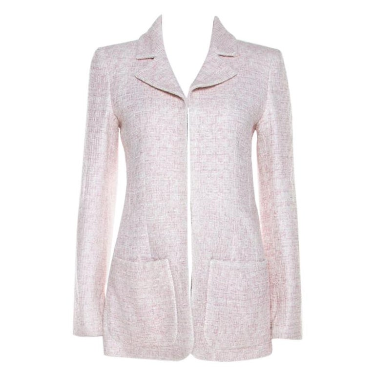 Chanel Pale Pink Lurex Insert Tweed Long Coat S For Sale