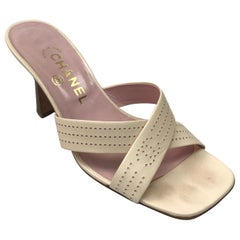 Chanel Pale Pink Perforated Leather Strappy Sandal - 37