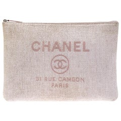 Chanel Pale Pink Raffia Large Deauville Clutch