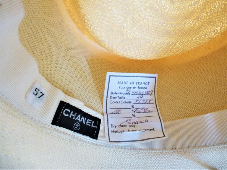 CHANEL PANAMA STRAWHAT size 57 signed 1994 For Sale 1