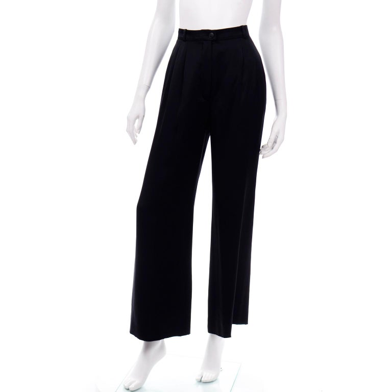 Chanel Pants Spring Summer 2002 Black Silk High Waist Trousers In Excellent Condition For Sale In Portland, OR