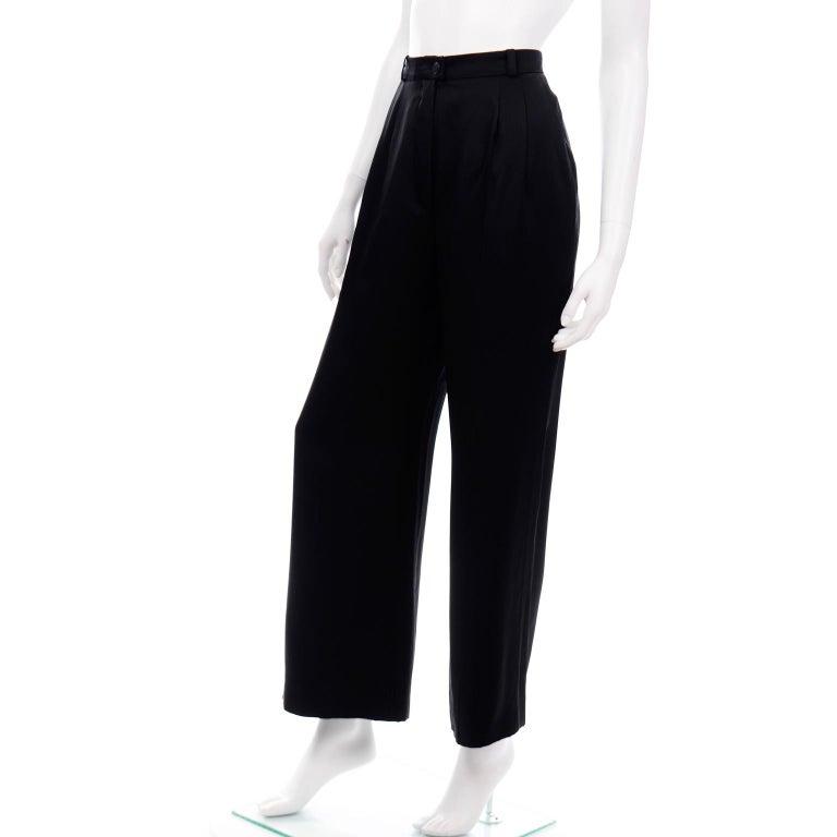 Women's Chanel Pants Spring Summer 2002 Black Silk High Waist Trousers For Sale