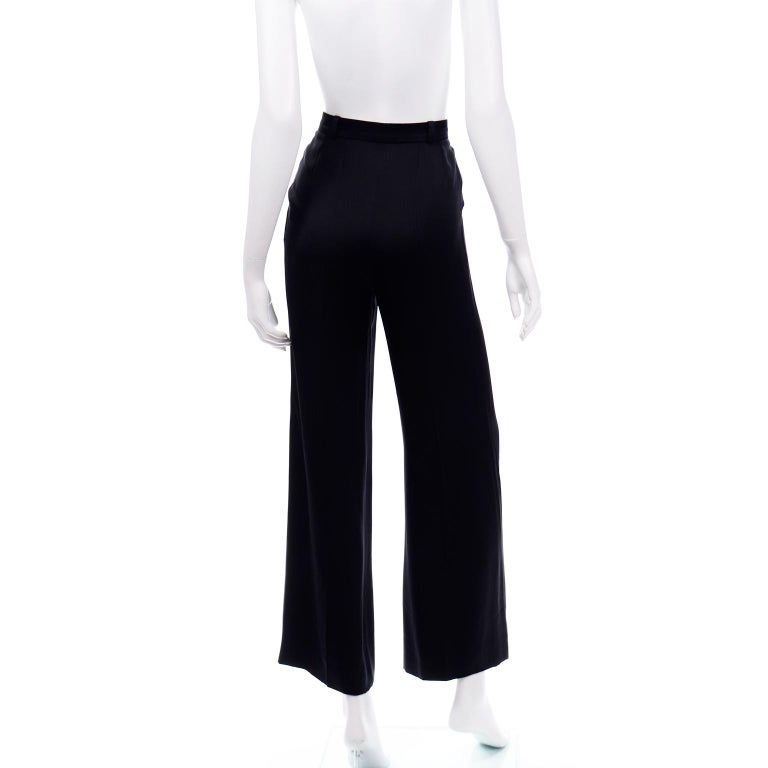 Chanel Pants Spring Summer 2002 Black Silk High Waist Trousers For Sale 1