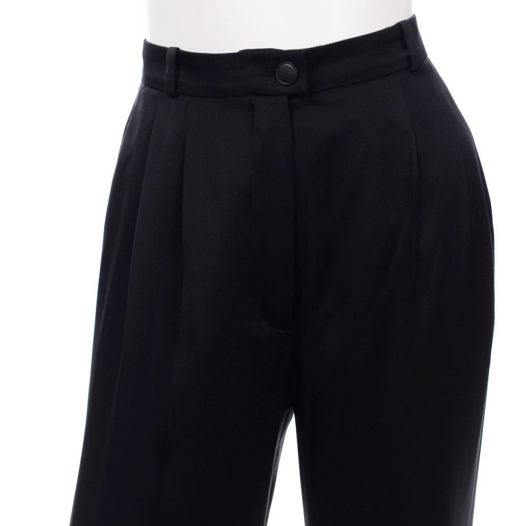Chanel Pants Spring Summer 2002 Black Silk High Waist Trousers For Sale 2