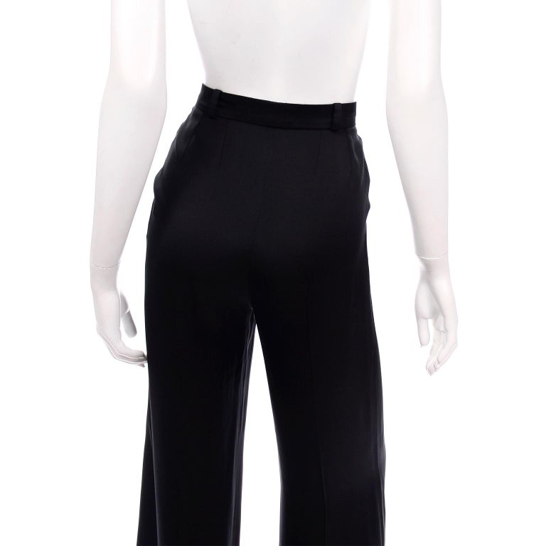 Chanel Pants Spring Summer 2002 Black Silk High Waist Trousers For Sale 3