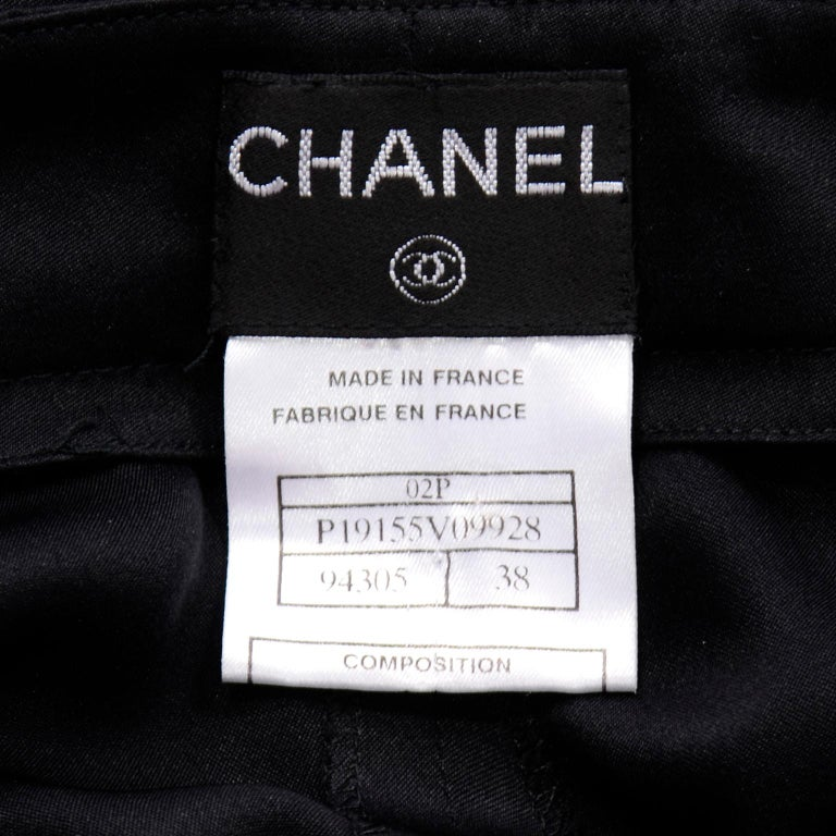 Chanel Pants Spring Summer 2002 Black Silk High Waist Trousers For Sale 5