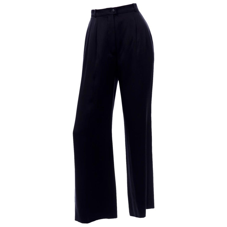 Chanel Pants Spring Summer 2002 Black Silk High Waist Trousers For Sale