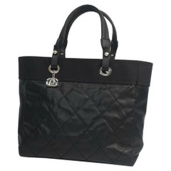 CHANEL Paris Biarritz tote MM Womens shoulder bag A34209 black x silver hardware