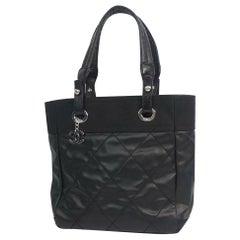 CHANEL Paris Biarritz tote PM Womens tote bag A34208 black x silver hardware