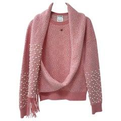 Chanel, Paris-Bombay Runway Pink Scarf Sweater