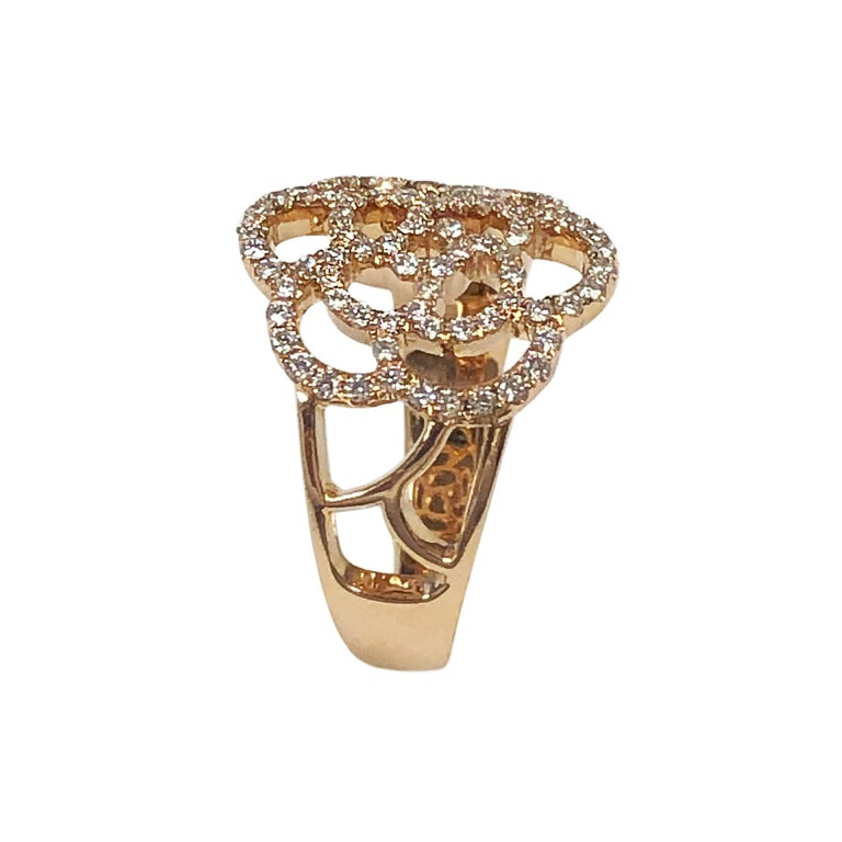 Chanel Paris Camelia Rose Gold and Diamond Ring In Excellent Condition For Sale In Chicago, IL
