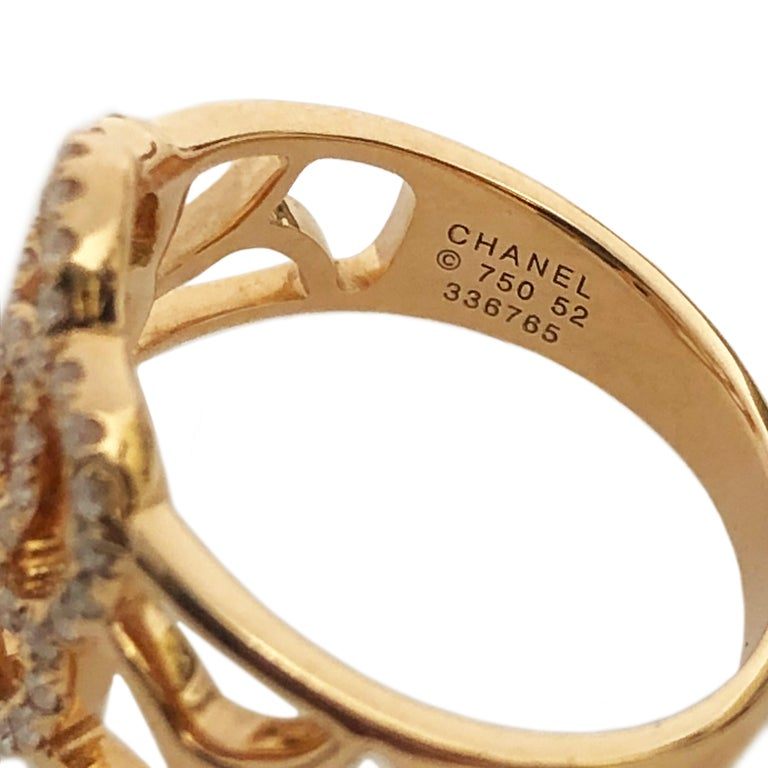 Women's Chanel Paris Camelia Rose Gold and Diamond Ring For Sale