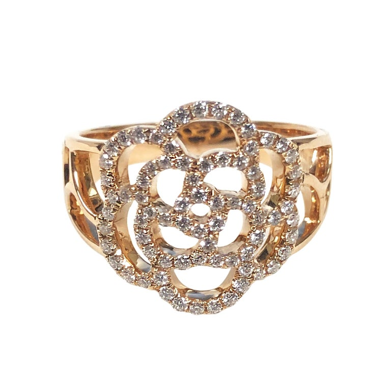 Chanel Paris Camelia Rose Gold and Diamond Ring For Sale