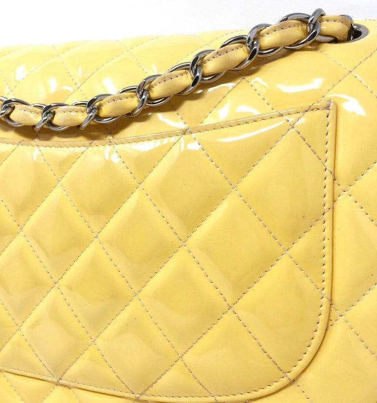 CHANEL PARIS Classic Jumbo bag patent leather Yellow 2014 For Sale 1