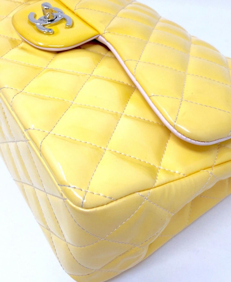 CHANEL PARIS Classic Jumbo bag patent leather Yellow 2014 For Sale 2