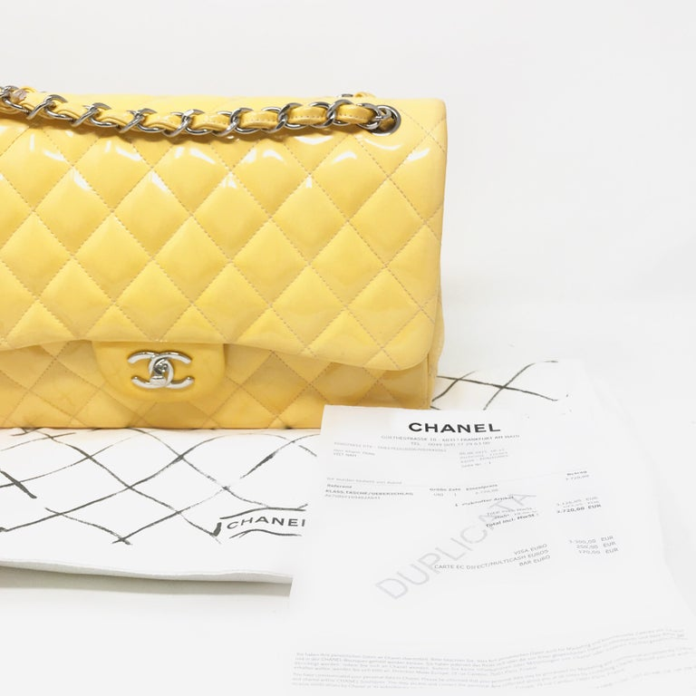 CHANEL PARIS Classic Jumbo bag patent leather Yellow 2014 For Sale 4