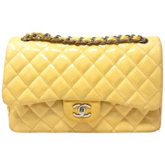 CHANEL PARIS Classic Jumbo bag patent leather Yellow 2014