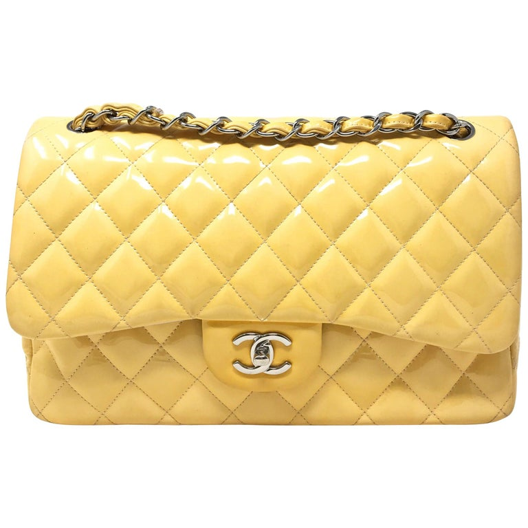 CHANEL PARIS Classic Jumbo bag patent leather Yellow 2014 For Sale