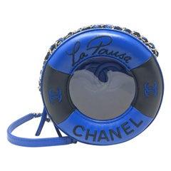 Chanel Paris Coco Lifesaver Round Bag Black, Blue, 2018