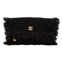 Chanel Paris Cosmopolite Flap Fringe Clutch Quilted Tweed Medium