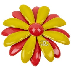 CHANEL Paris-Cuba Coral and Yellow Daisy Brooch
