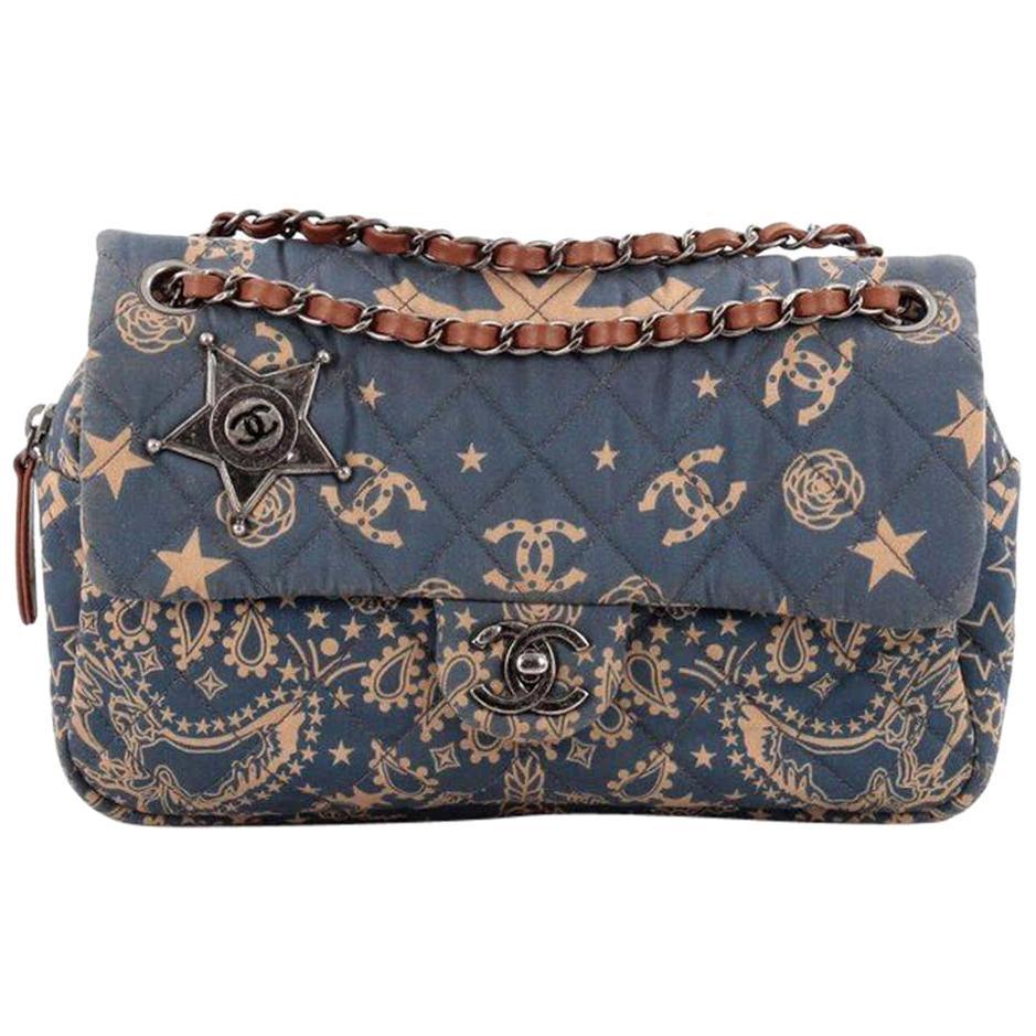 Chanel Paris-Dallas Bandana Medium Blue & Beige Quilted Classic Flap Canvas Bag