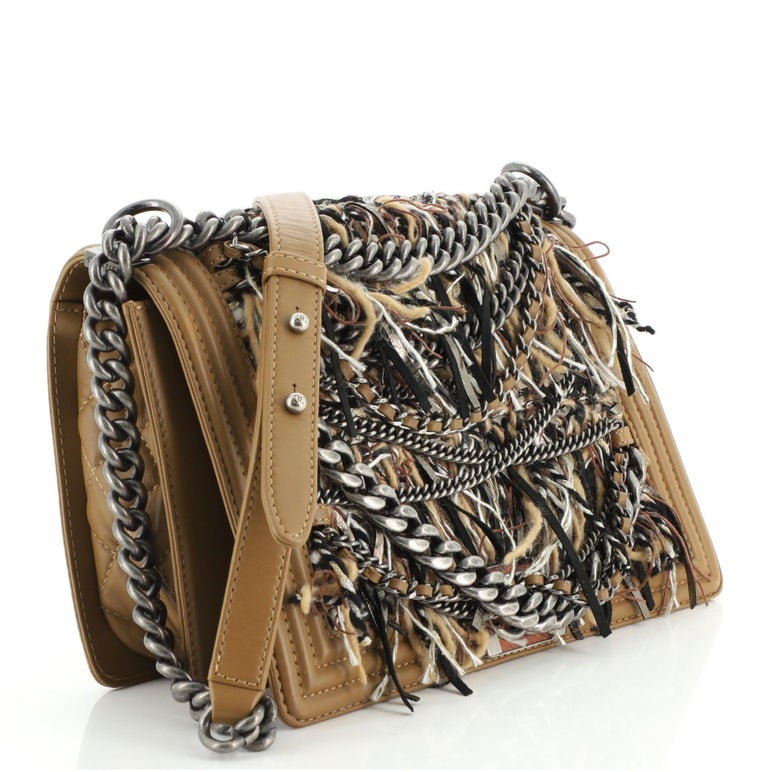 Chanel Paris-Dallas Boy Flap Bag Enchained Fringe Tweed with Calfskin New Medium In Good Condition For Sale In New York, NY