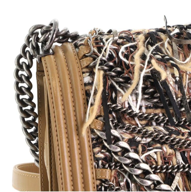 Chanel Paris-Dallas Boy Flap Bag Enchained Fringe Tweed with Calfskin New Medium For Sale 5