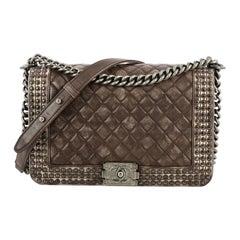 Chanel Paris-Dallas Boy Flap Bag Quilted Studded Distressed Calfskin New Medium