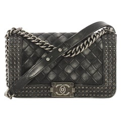 Chanel Paris-Dallas Boy Flap Bag Quilted Studded Distressed Calfskin Old Medium