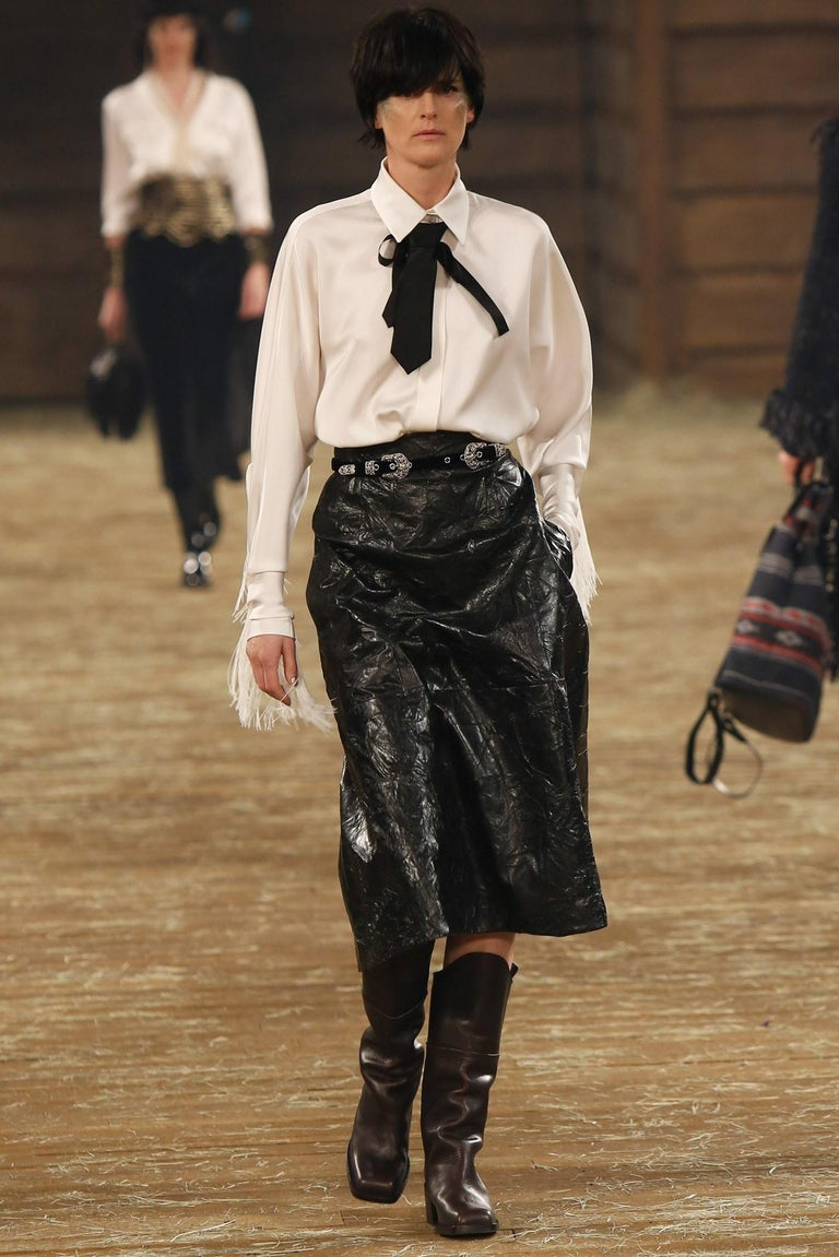 Black Chanel 'Paris Dallas' Fall/ Winter 2014 velvet leather western belt For Sale