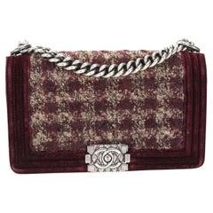 Chanel Paris-Édimbourg Burgundy Quilted Velvet & Tweed Old Medium Boy Bag