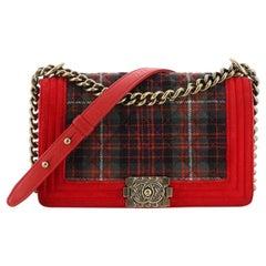 Chanel Paris-Edinburgh Boy Flap Bag Quilted Tweed with Velvet Old Medium