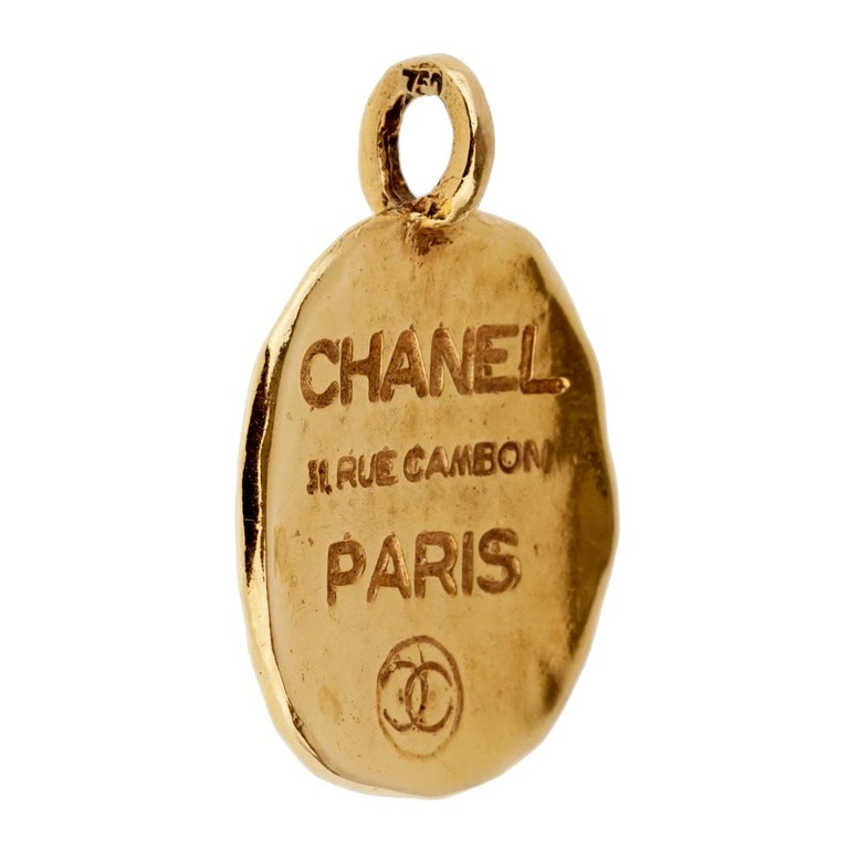 Chanel Paris Gold Pendant Necklace In Good Condition For Sale In Feasterville, PA